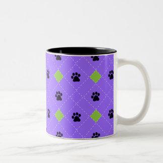 Green Argyle Paw Prints Mugs