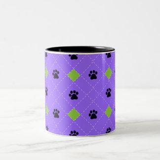 Green Argyle Paw Prints Two-Tone Coffee Mug