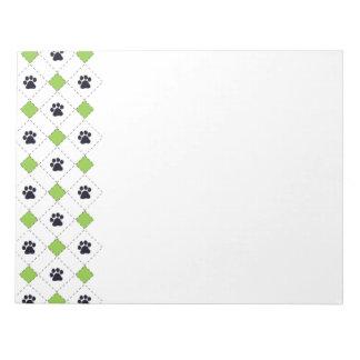 Green Argyle Paw Prints Notepad