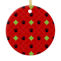 Green Argyle Paw Prints Double-Sided Ceramic Round Christmas Ornament