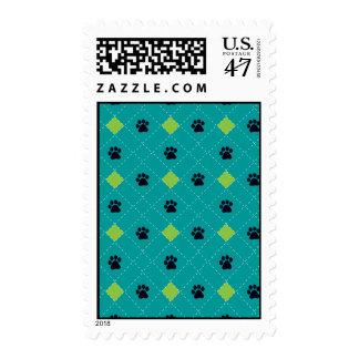 Green Argyle Paw Prints Postage
