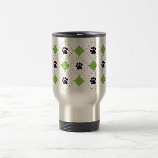 Green Argyle Paw Prints Travel Mug