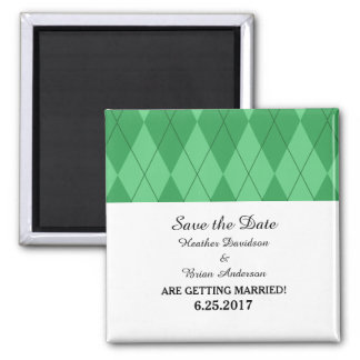 Green Argyle Save the Date Magnet