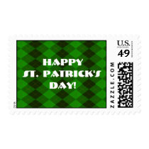 Green Argyle St. Patrick's Day Postage Stamp