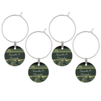 Green army camo personalized wine charm