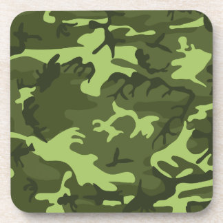 Green army camouflage design beverage coasters