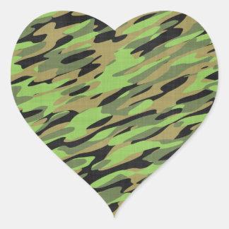 Green Army Camouflage Textured Heart Sticker