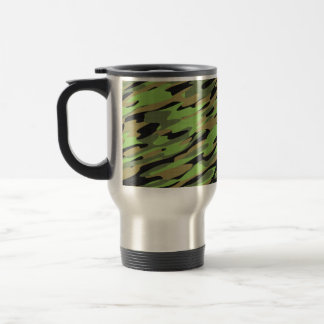 Green Army Camouflage Textured 15 Oz Stainless Steel Travel Mug