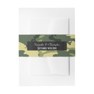 Green army camouflage wedding invitation belly band