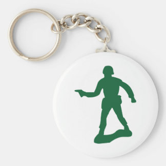 Green Army Man Basic Round Button Keychain