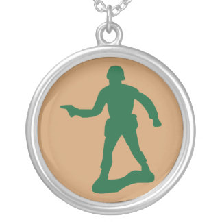 Green Army Men Silver Plated Necklace