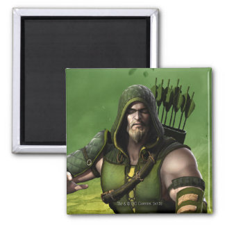 Green Arrow 2 Inch Square Magnet