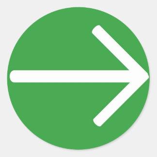 Green arrow classic round sticker