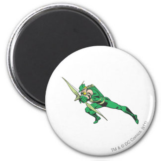 Green Arrow Crouches 2 Inch Round Magnet