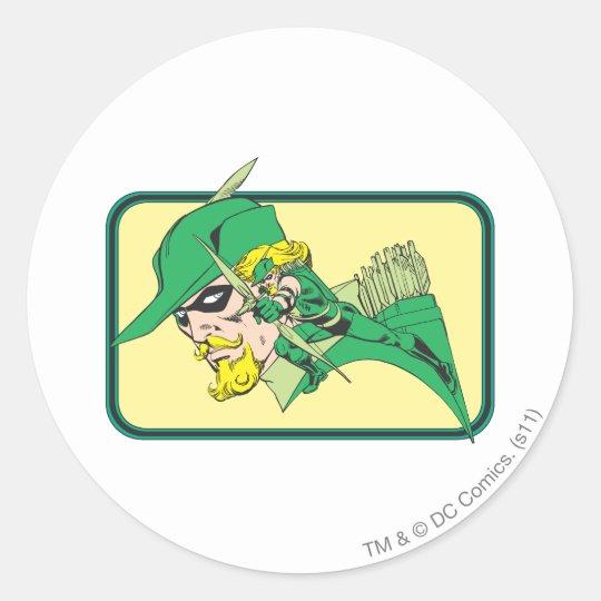 Green Arrow Head Shot Classic Round Sticker