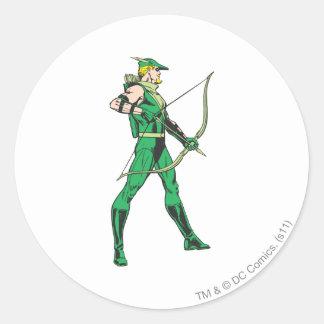 Green Arrow Profile Classic Round Sticker