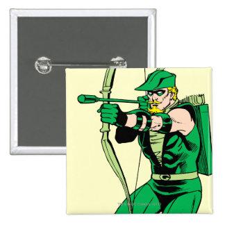 Green Arrow Shooting Arrow 2 Inch Square Button