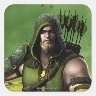 Green Arrow Square Sticker