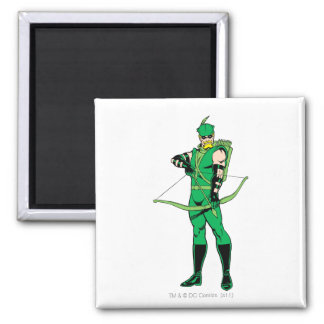 Green Arrow Standing with Bow Fridge Magnet