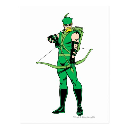 Green Arrow Standing with Bow Postcard