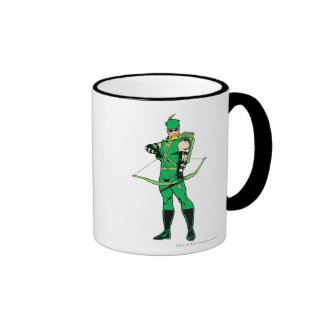 Green Arrow Standing with Bow Ringer Mug