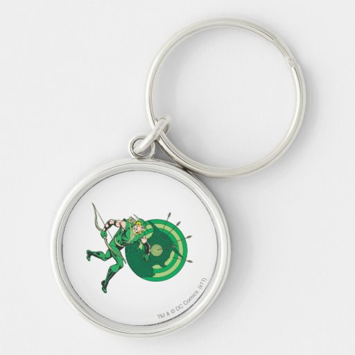 Green Arrow with Target 2 Silver-Colored Round Keychain