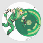 Green Arrow with Target 2 Round Sticker