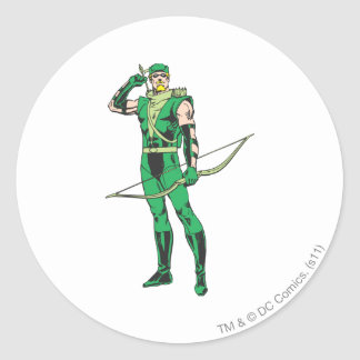 Green Arrow with Target Round Stickers