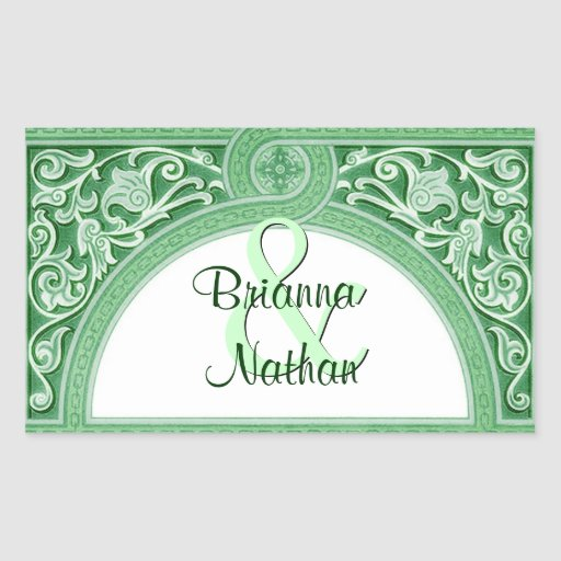 Green Art Deco Arch Scroll Wedding Rectangle Stickers