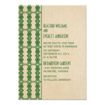 "Green Art Deco Border Wedding Invitation 5"" X 7"" Invitation Card"