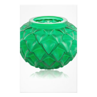 Green Art Deco carved glass vase. Stationery