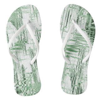 Green Art Deco Flip Flops