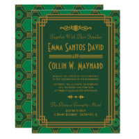 Green Art Deco Wedding Invites