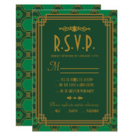 Green Art Deco Wedding RSVP Cards