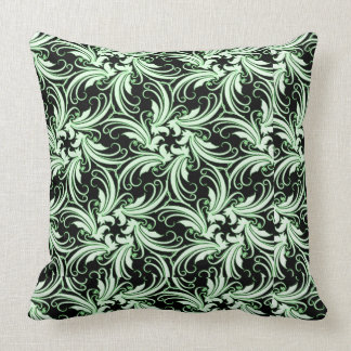 Green Artful Stylized Hibiscus Against Black Throw Pillow