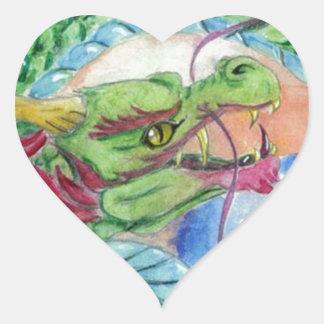 Green Asian Dragon Heart Sticker