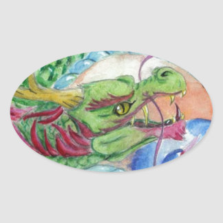 Green Asian Dragon Oval Sticker
