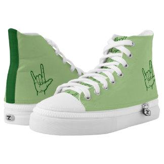 Green ASL I Love You Hi Top