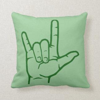 Green ASL I Love You Throw Pillow