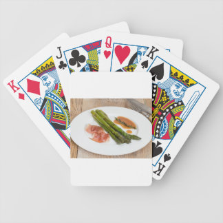 Green asparagus with ham and sauce bicycle playing cards