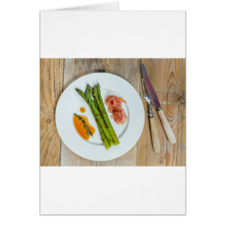 Green asparagus with ham and sauce card