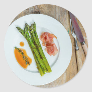 Green asparagus with ham and sauce classic round sticker