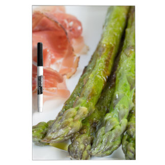 Green asparagus with ham and sauce Dry-Erase board