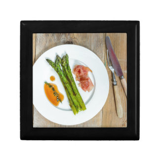 Green asparagus with ham and sauce jewelry box