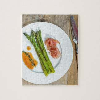 Green asparagus with ham and sauce jigsaw puzzle