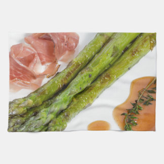 Green asparagus with ham and sauce kitchen towels