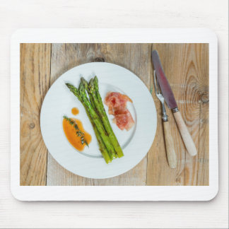 Green asparagus with ham and sauce mouse pad