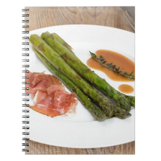 Green asparagus with ham and sauce notebook