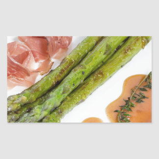 Green asparagus with ham and sauce rectangular sticker