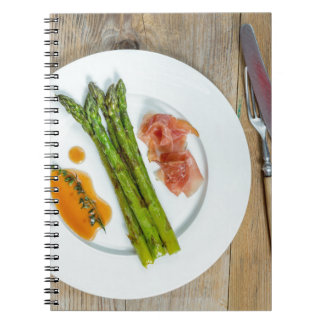 Green asparagus with ham and sauce spiral notebook